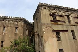 closeup of old city jail