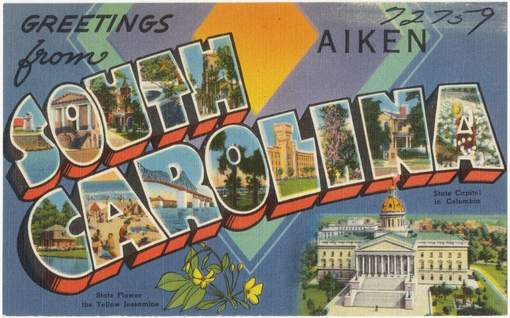 A vintage South Carolina postcard
