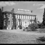 Black and white photo of the front of Fenwick Hall