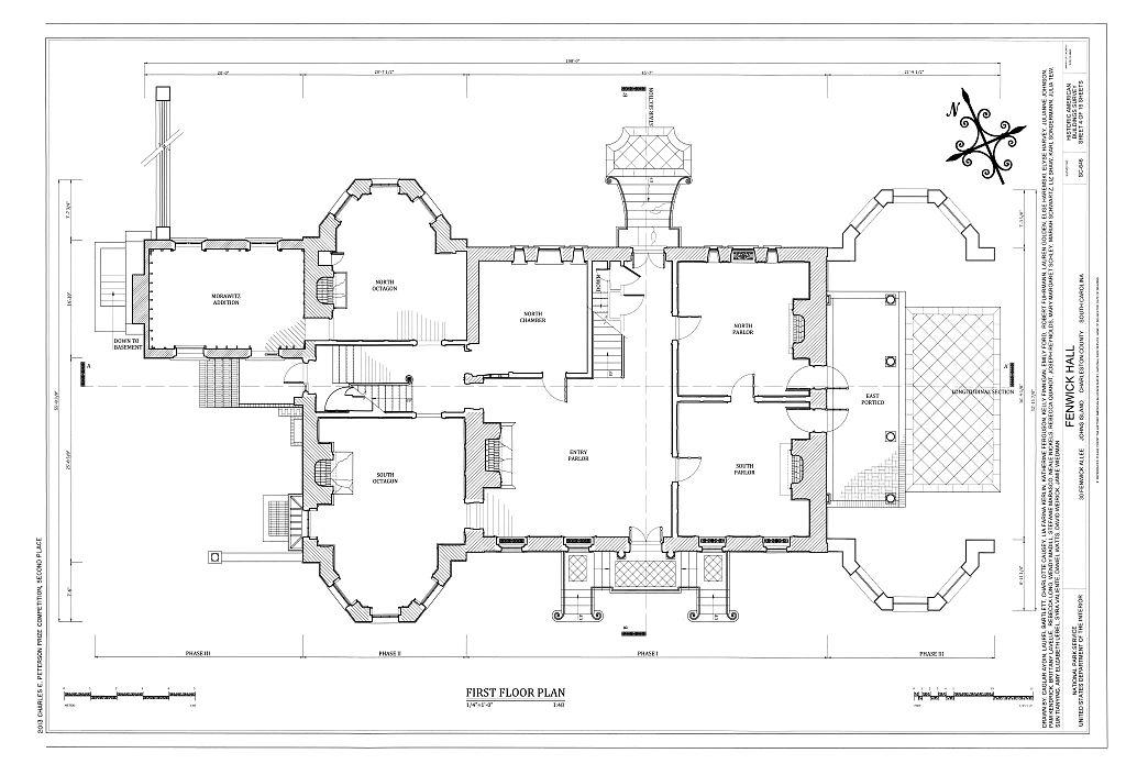 A blueprint of Fenwick Hall Plantation in 1938