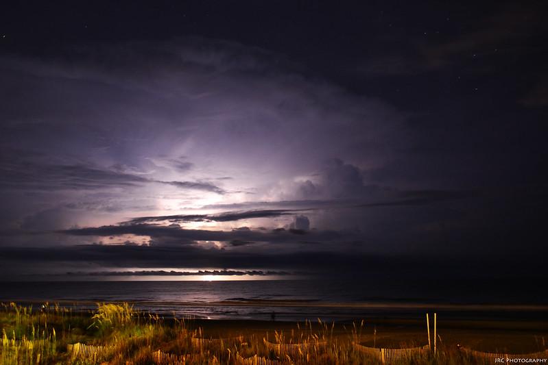 A storm over the ocean off South Carolina