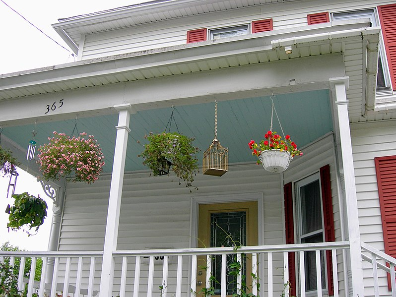 Upwards angled picture of a porch with a haint blue roof